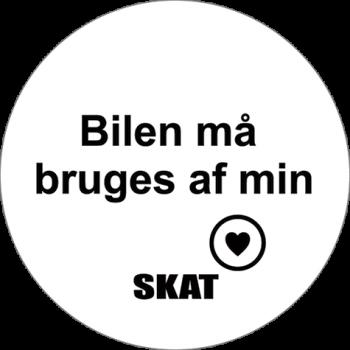 Bilen må bruges SKAT - Sticker Ø6 cm